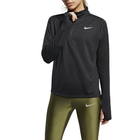 03ca7b9ecf5 Women's Nike Pacer Long-Sleeve 1/2 Zip Black Running Top