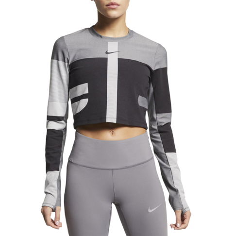 3ac08195f48e8 Women's Nike Run Tech Pack Knit Grey Running Top