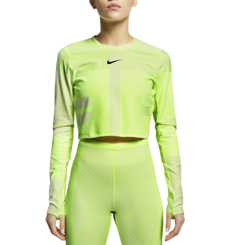 c18d3129bad14 Women's Nike Run Tech Pack Knit Yellow Running Top