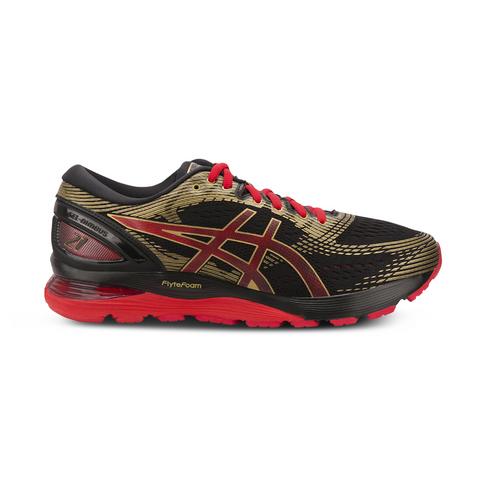 outlet store 0bd28 666af Men's Asics Gel Nimbus 21 Black/Red/Gold Shoe