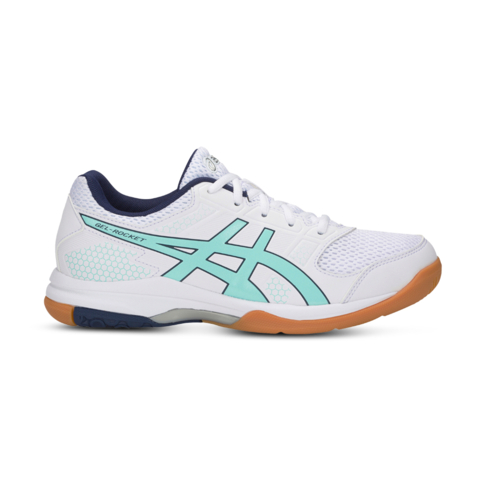 39346aae0e85 Women s Asics Gel-Rocket 8 White Blue Shoe