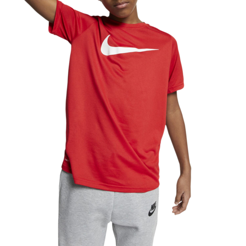 0776382f3e7e8 Boys Nike Dri-fit Swoosh Red Run Tee