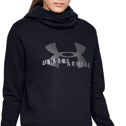 2cebb0a5 Women's Under Armour Rival Fleece Logo Black Hoodie