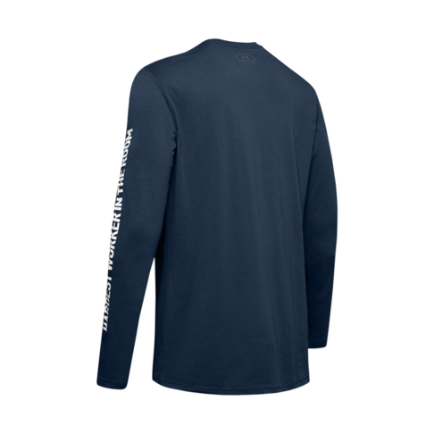 78a4e78ef Men's Under Armour Project Rock Hardest Worker Long Sleeve Navy Tee
