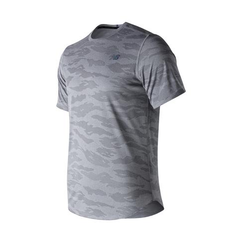 8b28a3d67a786 Men's New Balance Q Speed Short Sleeve Grey Camo Shirt