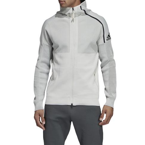 performance sportswear to buy on feet shots of Men's adidas Z.N.E. Parley Raw White Hoodie