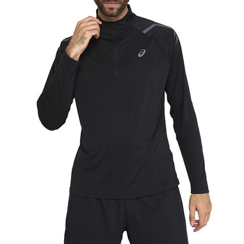 a1e79fdb8b Men's Asics Icon Long Sleeve 1/2 Zip Black Tee