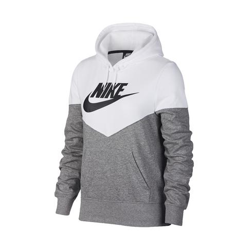 hot sale online 8a712 d86e7 Women's Nike Sportswear Heritage Grey/White Fleece Hoodie