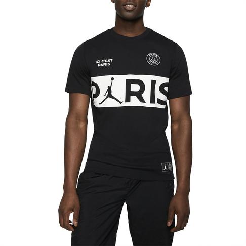 low priced 1d7f9 7ccde Men's Nike Jordan PSG Wordmark Black Tee