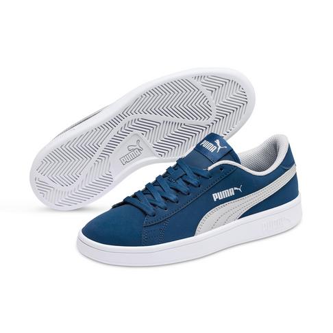 9ccb5e7f6fb17 Junior Grade School Puma Smash v2 Buck Blue/Grey Shoe