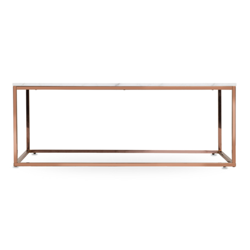 Copper And White Marble Coffee Table 60x120cm