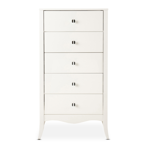 Scarlet 5 Drawer Tallboy White Lacquer