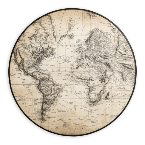 Round Globe Map.Framed World Map Round 90cm