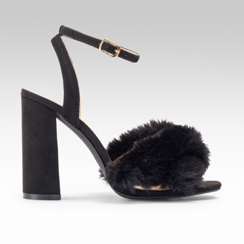 b60769e282 Crossover Fluffy Block Heel