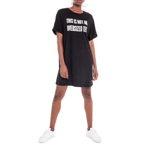 71f62f555e3 This Is Not An Oversized Tee Slogan T-Shirt Dress