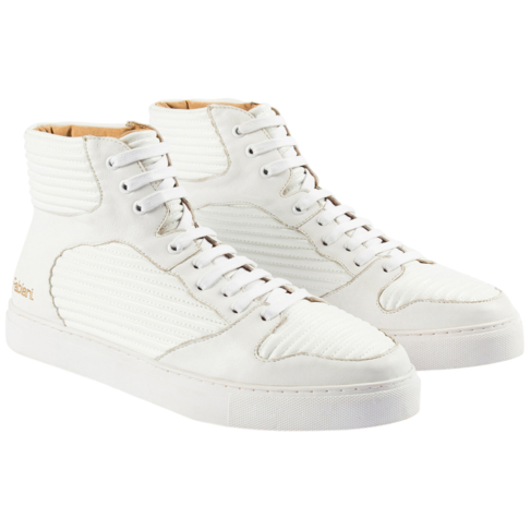 new style 22cac 28ffa RIBBED LEATHER HIGH-TOP SNEAKER